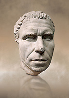 Roman portrait bust from circa 30 BC excavated from the Valle Giardino, Nemi, Rome. The appearance of an adult man with an energetic, dominating expression, is artistically and crisply represented in this portrait. The treatment of the eyebrows and hair suggest that this statue is the copy of a bronze original. The head is a fusion of the realistic style from the period of Caesar and the classic works of the Augustan age . Inv 66177, The National Roman Museum, Rome, Italy