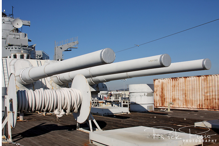 The three 16 inch guns on the USS Iowa's aft gun battery