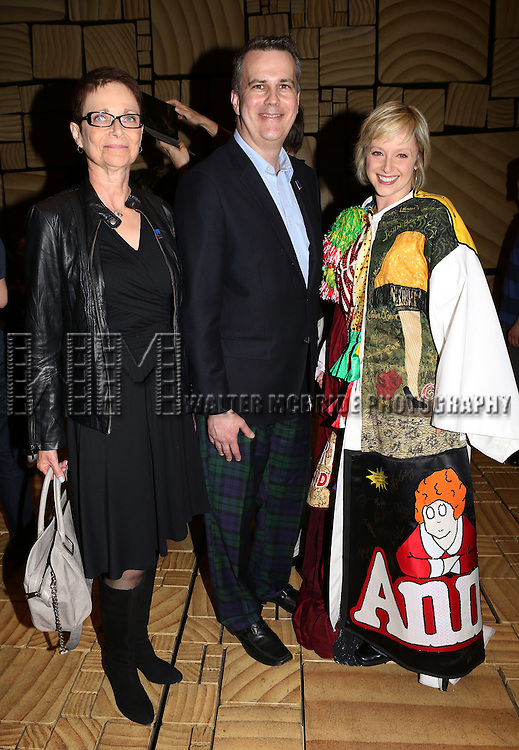 Executive Director of AEA Mary McColl, AEA Eastern Regional Director Thomas  & Carpenter  & Nadine Isenegger attending the Broadway Opening Night Performance Actors' Equity Gypsy Robe honoring Nadine Isenegger for 'Matilda The Musical' at the Shubert Theatre in New York City on 4/11/2013