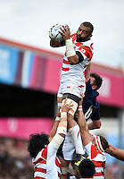 Michael Leitch of Japan wins the ball at a lineout. Rugby World Cup Pool B match between Scotland and Japan on September 23, 2015 at Kingsholm Stadium in Gloucester, England. Photo by: Patrick Khachfe / Onside Images