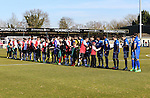 Team line up before the Vanamara Conference League match between Woking and Grimsby Town at the Kingfield Stadium, Woking, Surrey<br /> Picture by David Horn/eXtreme aperture photography +44 7545 970036<br /> 07/03/2015