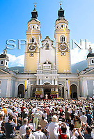 Cattedral Bressanone Pope Benedict XVI  during his Angelus prayer in Bressanone, northern Italy,..Aug. 03, 2008..