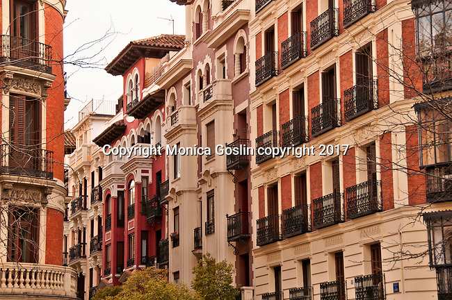 Balconies in the Chueca neighborhood of Madrid, Spain