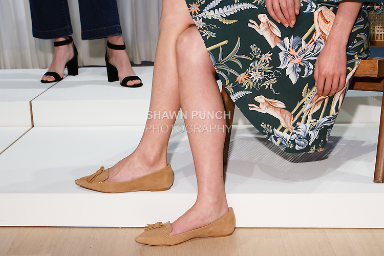 Shoe detail from the Ann Taylor Spring Summer 2017 fashion presentation by Austyn Zung, at the Ann Taylor showroom in 7 Times Square, New York on October 26, 2016.