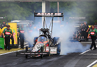 May 15, 2015; Commerce, GA, USA; NHRA top fuel driver Terry McMillen during qualifying for the Southern Nationals at Atlanta Dragway. Mandatory Credit: Mark J. Rebilas-USA TODAY Sports