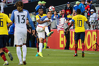 Seattle, WA - Thursday, June 16, 2016: United States forward Bobby Wood (7) attempts to head the ball during the Quarterfinal of the 2016 Copa America Centenrio at CenturyLink Field.