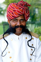 Doorman with long moustache, Park Plaza Hotel, Jaipur Rajasthan, India