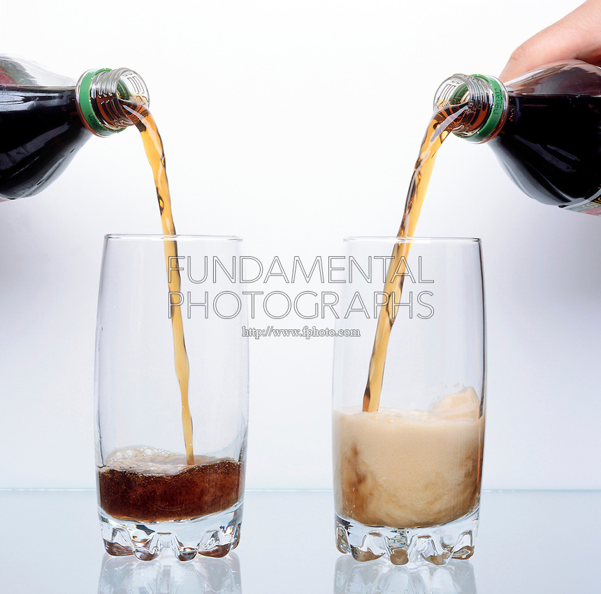 WARM SODA FOAMS MORE THAN COLD SODA: 1 of 3<br /> Demonstration Of Solubility. Warm soda pop fizzes more than cold soda pop because the solubility of the dissolved carbon dioxide decreases with increasing temperature.