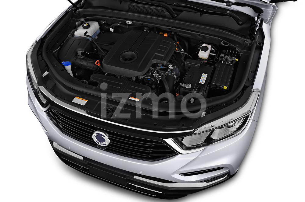 Car stock 2018 Ssangyong Rexton Sapphire 5 Door SUV engine high angle detail view