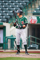 Great Lakes Loons third baseman Edwin Rios (28) during the second game of a doubleheader against the Fort Wayne TinCaps on May 11, 2016 at Parkview Field in Fort Wayne, Indiana.  Great Lakes defeated Fort Wayne 5-0.  (Mike Janes/Four Seam Images)
