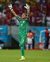 Costa Rica goalkeeper Keylor Navas celebrates his sides opening goal by Bryan Ruiz