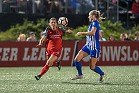 Boston, MA - Sunday September 10, 2017: Hayley Raso and Megan Oyster during a regular season National Women's Soccer League (NWSL) match between the Boston Breakers and Portland Thorns FC at Jordan Field.