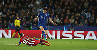 Leicester City's Ben Chilwell is tackled by Atletico Madrid's Gabi<br /> <br /> Photographer Stephen White/CameraSport<br /> <br /> UEFA Champions League Quarter Final Second Leg - Leicester City v Atletico Madrid - Tuesday 18th April 2017 - King Power Stadium - Leicester <br />  <br /> World Copyright &copy; 2017 CameraSport. All rights reserved. 43 Linden Ave. Countesthorpe. Leicester. England. LE8 5PG - Tel: +44 (0) 116 277 4147 - admin@camerasport.com - www.camerasport.com