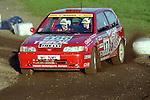 Pix: Shaun Flannery/shaunflanneryphotography.com...COPYRIGHT PICTURE>>SHAUN FLANNERY>01302-570814>>07778315553>>..1995 Network Q RAC Rally..19th November - 22nd November 1995..Jarmo Kytolehto and Arto Kapanen..Nissan Sunny.Nissan F2