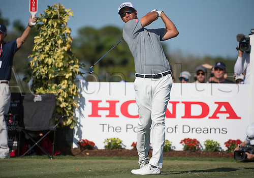 27.02.2016. Palm Beach, Florida, USA.  Adam Scott tees off during the third round of the Honda Classic at the PGA National Resort & Spa in Palm Beach Gardens, FL.