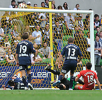 MELBOURNE, AUSTRALIA - JANUARY 09: Fabian Barbiero of United kicks the ball high into the goal during the round 22 A-League match between the Melbourne Victory and Adelaide United at AAMI Park on January 9, 2011 in Melbourne, Australia. (Photo by Sydney Low / Asterisk Images)