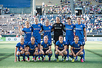 Seattle, WA - Saturday, July 02, 2016: Seattle Reign FC starting IX during a regular season National Women's Soccer League (NWSL) match between the Seattle Reign FC and the Boston Breakers  at Memorial Stadium.