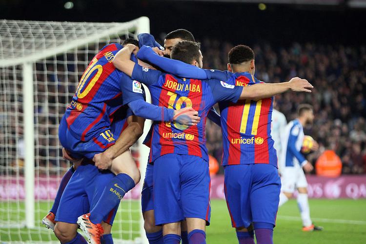 League Santander 2016/2017. Game: 16.<br /> FC Barcelona vs RCD Espanyol: 4-1.<br /> Luis Suarez, Lionel Messi, Jordi Alba &amp; Neymar Jr.
