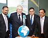 Boris Johnson <br /> Mayor of London <br /> visits Lycamobile Global HQ in Docklands, London, Great Britain <br /> 21st July 2011 <br /> <br /> <br /> <br /> Subaskaram Allirajah (Group Chairman)<br /> <br /> Boris Johnson <br /> London Mayor<br /> <br /> Milind Kangle (Group CEO)<br /> <br /> Premananthan Sivasamy (Group Chief Operating Officer)<br /> <br /> <br /> <br /> <br /> <br /> Photograph by Elliott Franks