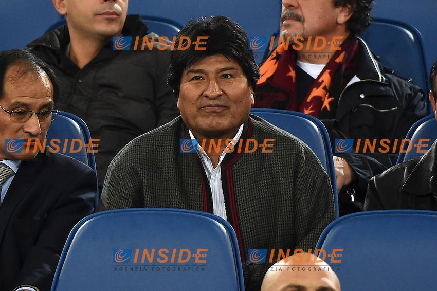 Bolivian president Evo Morales on the stands <br /> Roma 29-10-2014 Stadio Olimpico, Football Calcio Serie A 2014/2015 AS Roma - Cesena. Foto Andrea Staccioli / Insidefoto