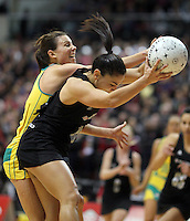 01.09.2010 Silver Ferns Temepara George and Australian Natalie Von Bertouch in action during the Silver Ferns v Australia New World netball test match in Wellington. Mandatory Photo Credit ©Michael Bradley.