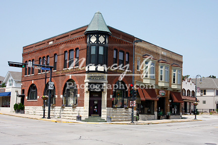 Historical building in Menomonee Falls Wisconsin on Main Street USA.  Bank of Memories
