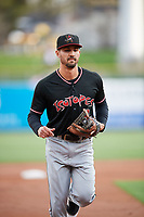 Derrik Gibson (8) of the Albuquerque Isotopes during the game against the Salt Lake Bees at Smith's Ballpark on April 5, 2018 in Salt Lake City, Utah. Salt Lake defeated Albuquerque 9-3. (Stephen Smith/Four Seam Images)