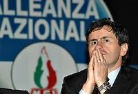 """Roma 09/12/04 Manifestazione di Alleanza Nazionale """"Giù le tasse"""". Nella foto Gianni Alemanno, Ministro delle Politiche Agricole.<br /> Photo Samantha Zucchi Insidefoto"""