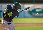 29 June 2014:  Vermont Lake Monsters outfielder Dayton Alexander in action against the Lowell Spinners at Centennial Field in Burlington, Vermont. The Lake Monsters fell to the Spinners 7-5 in NY Penn League action. Mandatory Credit: Ed Wolfstein Photo *** RAW Image File Available ****