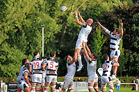 Matt Garvey of Bath Rugby rises high to win lineout ball. Pre-season friendly match, between Yorkshire Carnegie and Bath Rugby on August 13, 2016 at Ilkley RFC in Ilkley, England. Photo by: Ian Smith / Onside Images