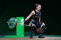 Andrea Hams of New Zealand fails her attempt in snatch during the Women's 69kg Final. Gold Coast 2018 Commonwealth Games, Weightlifting, Gold Coast, Australia. 8 April 2018 © Copyright Photo: Anthony Au-Yeung / www.photosport.nz