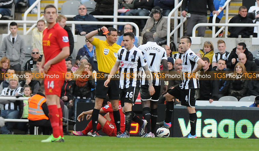 Mathieu Debuchy is sent off for ` second bookable offence - Newcastle United vs Liverpool - Barclays Premier League Football at St James Park, Newcastle upon Tyne - 27/04/13 - MANDATORY CREDIT: Steven White/TGSPHOTO - Self billing applies where appropriate - 0845 094 6026 - contact@tgsphoto.co.uk - NO UNPAID USE
