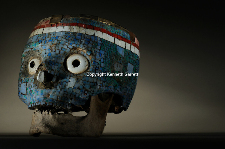 National Museum of Anthropology and History; Mexico; MM7677; Greatest Aztecs; Aztec,  NMAH, Mexico City, Mexico,Skull, Death mask, Turquoise