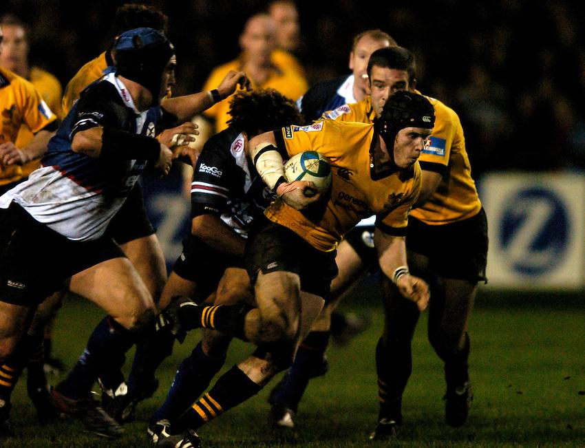 Photo: Richard Lane..Celtic Warriors v London Wasps.. Heinenken Cup. 16/01/2004..Jonny O'Connor attacks.