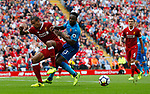 Liverpool's Joel Matip (L) in action with Arsenal's Danny Welbeck during the premier league match at Anfield Stadium, Liverpool. Picture date 27th August 2017. Picture credit should read: Paul Thomas/Sportimage