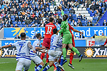 03.11.2018, Schauinsland-Reisen-Arena, Duisburg, GER, 2. FBL, MSV Duisburg vs. SC Paderborn 07, DFL regulations prohibit any use of photographs as image sequences and/or quasi-video<br /> <br /> im Bild Daniel Mesenhöler / Mesenhoeler (#27, MSV Duisburg) klaert vor Sebastian Schonlau (#13, SC Paderborn 07)<br /> <br /> Foto © nordphoto/Mauelshagen