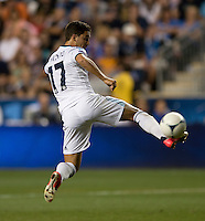 Eden Hazard (17) of Chelsea flicks the ball during the game at PPL Park in Chester, PA.  The MLS All-Stars defeated Chelsea, 3-2.