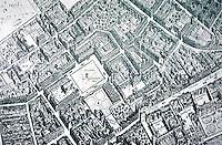 London: Covent Garden Birdseye view--1658--by Hollar. From M.C. Borer, COVENT GARDEN, 1967.