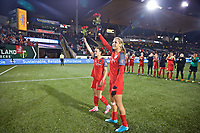Portland, OR - Saturday May 06, 2017: Hayley Raso, Allie Long during a regular season National Women's Soccer League (NWSL) match between the Portland Thorns FC and the Chicago Red Stars at Providence Park.