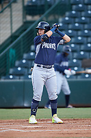 Michael Suarez (22), of the AZL Padres 1, at bat during an Arizona League game against the AZL Angels on August 5, 2019 at Tempe Diablo Stadium in Tempe, Arizona. AZL Padres 1 defeated the AZL Angels 5-0. (Zachary Lucy/Four Seam Images)
