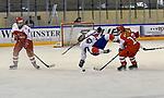 09.01.2020, BLZ Arena, Füssen / Fuessen, GER, IIHF Ice Hockey U18 Women's World Championship DIV I Group A, <br /> Daenemark (DEN) vs Frankreich (FRA), <br /> im Bild Sofie Skott (DEN, #22), spektakulaerer Flug von Anae Simon (FRA, #16), Frida Kielstrup (DEN, #13)<br /> <br /> Foto © nordphoto / Hafner