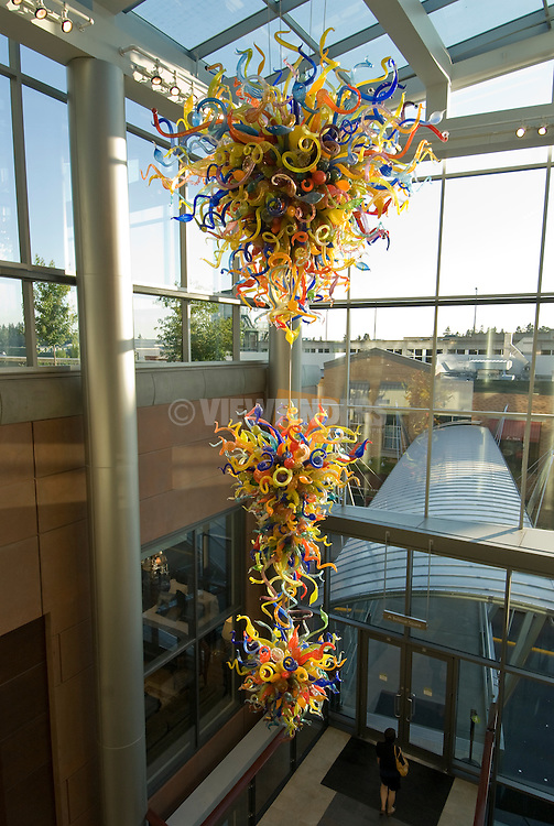 Glass sculpture by glass artist Dale Chihuly hangs in the atrium of Lincoln Square in downtown Bellevue, Washington