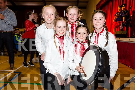Winners of the Bailéadghrúpa at the County Finals of Scór na bPaistí went to Waterville pictured l-r; Leah Dwyer, Etain O'Sullivan, Mary Elizabeth O'Connell, Maddie Courtney & Joni Curran.