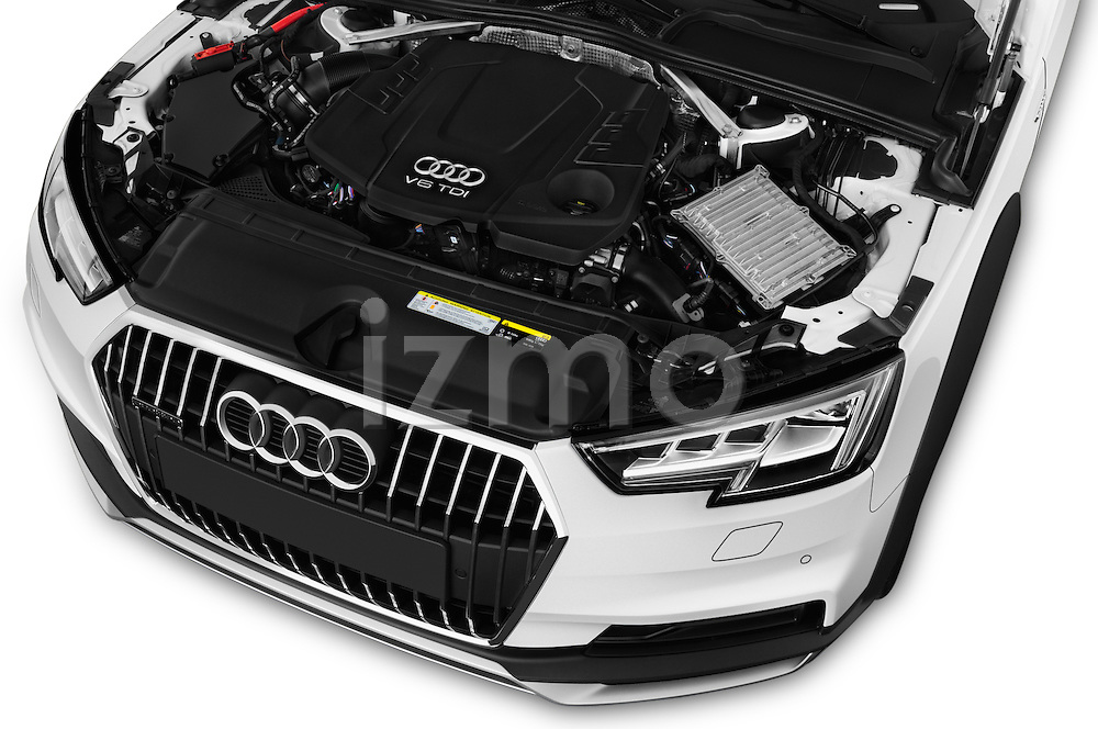 Car Stock 2017 Audi A4-Allroad Design-Luxe 5 Door wagon Engine  high angle detail view