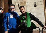 Newsfile photographer Eoin Clarke with navigator Andy Brady before the start of the Strade Bianche Eroica Pro 2015 cycle race 200km over the white gravel roads from San Gimignano to Siena, Tuscany, Italy. 8th March 2015<br /> Photo: Otto de Waele/www.newsfile.ie