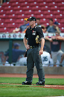 Umpire Tom Hanahan during a game between the Dayton Dragons and Cedar Rapids Kernels on July 24, 2016 at Perfect Game Field in Cedar Rapids, Iowa.  Cedar Rapids defeated Dayton 10-6.  (Mike Janes/Four Seam Images)
