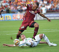 IBAGUE -COLOMBIA, 24-07-2016. Angelo Rodríguez jugador del  Tolima en acción contra  el Once Caldas durante encuentro  por la fecha 5 de la Liga Aguila II 2016 disputado en el estadio Murillo Toro./ Angelo Rodriguez player of Tolima in actions against Once Caldas   during match for the date 5 of the Aguila League II 2016 played at Murilo Toro stadium . Photo:VizzorImage / Juan Carlos Escobar  / Contribuidor
