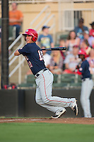 Cody Dent (10) of the Hagerstown Suns follows through on his swing against the Kannapolis Intimidators at Kannapolis Intimidators Stadium on July 4, 2016 in Kannapolis, North Carolina.  The Intimidators defeated the Suns 8-2.  (Brian Westerholt/Four Seam Images)