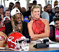 "MIAMI BEACH, FL - JANUARY 31: LIL WAYNE joins Jenny Taft on the set of ""Skip & Shannon: Undisputed"" on the Fox Sports South Beach studio during Super Bowl LIV week on January 31, 2020 in Miami Beach, Florida. (Photo by Frank Micelotta/Fox Sports/PictureGroup)"