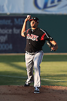 Zach Eflin #12 of the Lake Elsinore Storm warms up before pitching against the Lancaster JetHawks at The Hanger on April 4, 2014 in Lancaster, California. Lake Elsinore defeated Lancaster, 6-1. (Larry Goren/Four Seam Images)